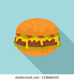 Cheeseburger icon. Flat illustration of cheeseburger vector icon for web design