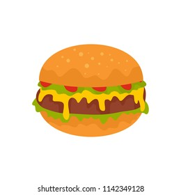 Cheeseburger icon. Flat illustration of cheeseburger vector icon for web isolated on white