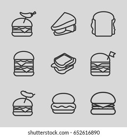 Cheeseburger icons set. set of 9 cheeseburger outline icons such as sandwich, double burger with flag