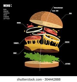 cheeseburger vector illustration tall deconstructed