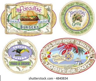 """""""Cheeseburgers in Paradise"""". signs for the type of restaurants Jimmy Buffet might go to(or own!)."""