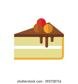 Cheesecake illustration. Slice of cake with three berries icon. Modern minimalistic flat design. Vector color icon on white background.
