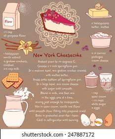 Cheesecake. Recipe card. Vector illustration. Food ingredients.