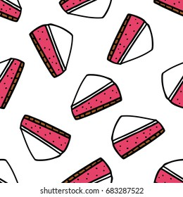 cheesecake seamless doodle pattern