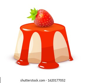 Cheesecake with Strawberry on white, Whole Sweet red Cake in colorful style. Vector illustration of Dessert Bakery