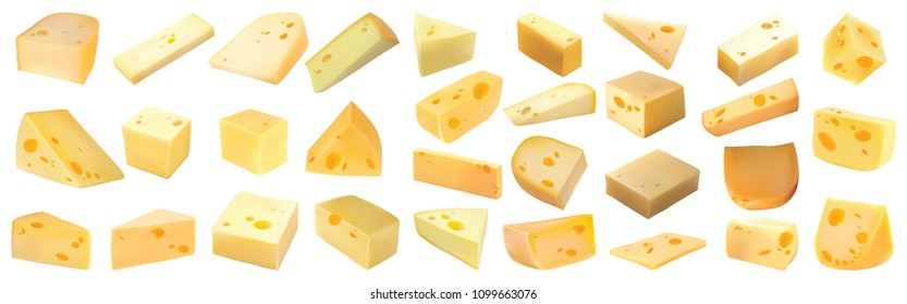 Cheeses isolated on white background. Cheese set. Modern style realistic vector illustration, milk, texture, Soft cheese, Ricotta , Coulommiers, Semi-soft, Medium-hard, Yellow, Feta, French
