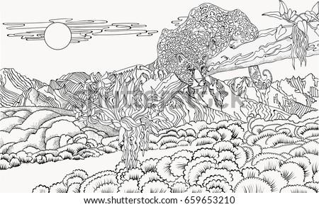Cheetah Against Backdrop Mountain Landscape Coloring Stock Vector ...