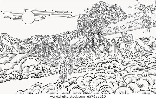 Cheetah Against Backdrop Mountain Landscape Coloring Stock ...