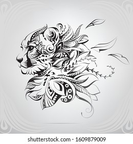 Cheetah face in floral ornament