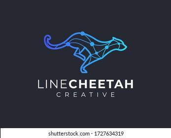 cheetah, leopard, panther modern logo technology outline
