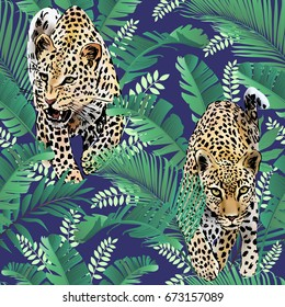 cheetah and leopards palm leaves tropical watercolor in the jungle seamless background