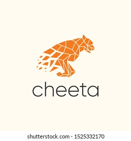 cheetah logo design vector. with the style of technology.