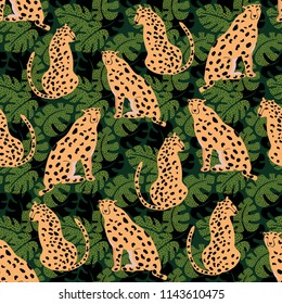 Cheetah with palm leaves seamless pattern. Summer paradise in tropical jungles with wild animals, and fantastic florals.