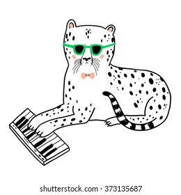 cheetah playing piano - vector drawing