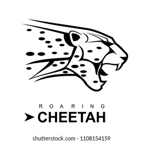cheetah head logo images stock photos vectors shutterstock https www shutterstock com image vector cheetah roaring black white 1108154159