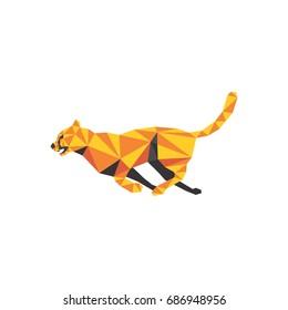 cheetah running low poly logo
