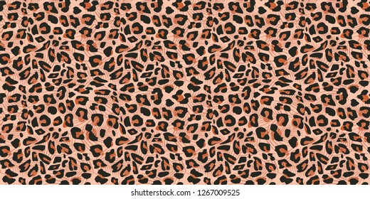 Cheetah skin seamless pattern vector illustration. Colorful trendy fashionable textile motifs background.