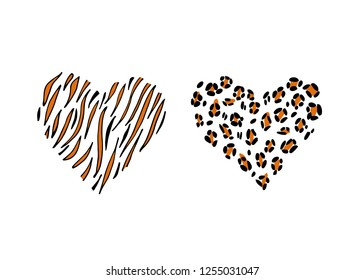 Cheetah and tiger print skin in the shape of a heart. Vector illustration. Valentines day. Greeting card.