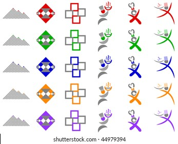 Chef and Abstract Squares Vector Icon Design Element Set