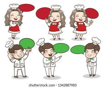 chef action with bubble speech for restaurant, cute couple chef