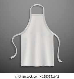 Chef apron. White culinary realistic 3d cloth apron chef uniform kitchen cotton cooking clothes isolated vector mockup