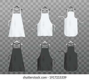 Chef aprons set. White and black kitchen textile uniform on hangers, protective clothing for cook food. Vector realistic 3d illustrations isolated on transparent background.