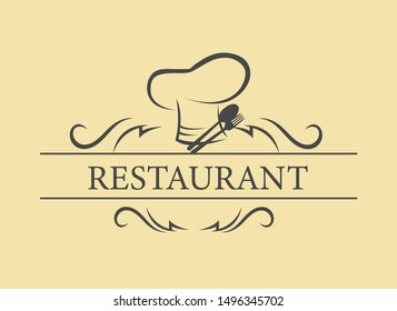 Chef, bakery shop and restaurant logo template, can be used as icon.
