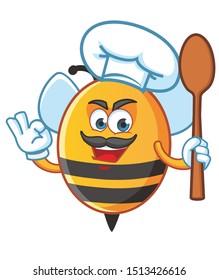 chef bee mascot character vector design