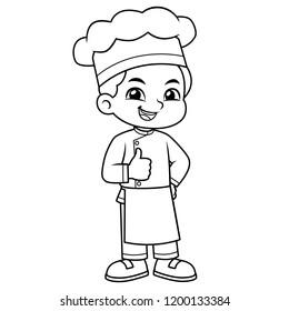 Chef Boy Thumb Up Pose BW.