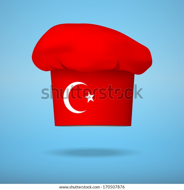Chef cap with the flag of Turkey. Vector illustrations on the traditional cuisine of different countries.