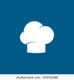 Chef Cap Flat Icon On Blue Background