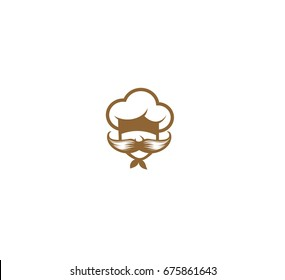 Chef cap and mostache icon, restaurant, vector illustration