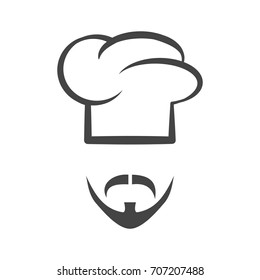 Chef cap with mustache and beard isolated logotype icon