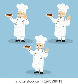 a chef carrying a plate of delicious steak and making hand gestures. Chef vector set.