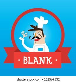 Chef cartoon label