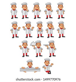 Chef character. Human mascot illustration in 15 different poses