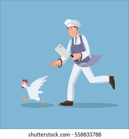 Chef chasing chicken flat illustration