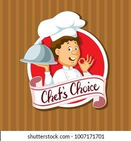 chef choise label with silvet tray flat design - vector illustration