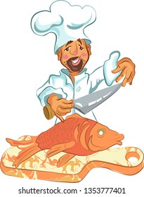 Chef coocks food and cutts fish with knife restaurant menu template. Coocking master class cartoon vector illustration.