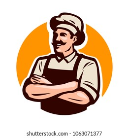Chef, cook or baker logo. Cafe, restaurant, menu concept. Cartoon vector illustration