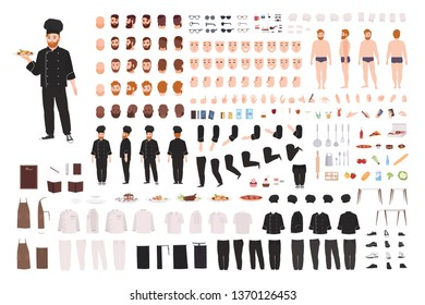 Chef, cook, culinary worker, kitchen staff DIY set or creation kit. Collection of body parts, gestures, postures, uniform. Male cartoon character. Front, side, back views. Flat vector illustration.
