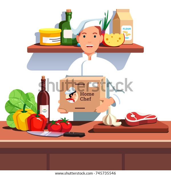 Chef Cook Hat Uniform Holding Meal Stock Vector (Royalty Free) 745735546