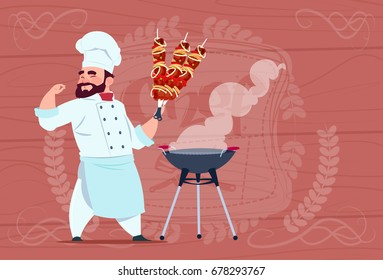 Chef Cook Hold Kebab Smiling Cartoon Restaurant Chief In White Uniform Over Wooden Textured Background Flat Vector Illustration