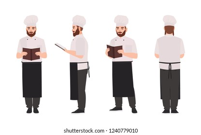 Chef, cook or restaurant worker wearing uniform and toque reading recipe or culinary book. Male cartoon character isolated on white background. Front, side, back views. Flat vector illustration.