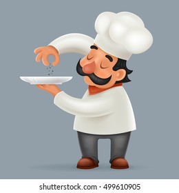 Chef Cook Serving Food Realistic Cartoon Character Design Isolated Vector Illustrator