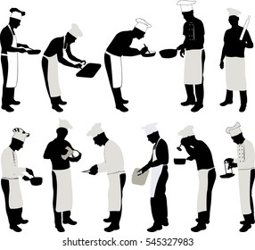 Chef Cook Silhouette Set - vector
