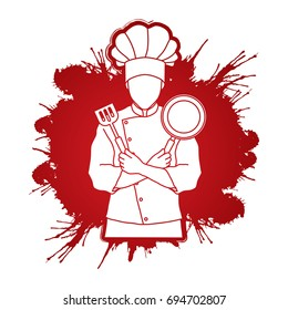 Chef cook standing crossed arms with pan and spatula designed on splatter blood graphic vector