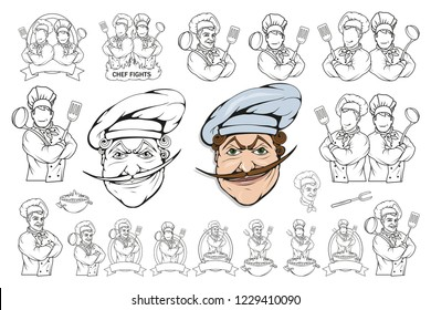 chef cook standing in a different pose, restaurant boss, cartoon chef in uniform, cook logo, chef hat, professional chef cook, head of kitchen, vector graphics to design