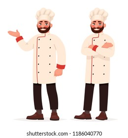 Chef cook in two poses. Vector illustration in cartoon style