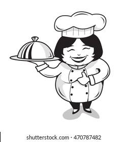 chef cook women fat food white black
